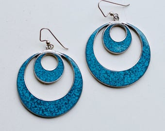 1960s Mexican silver and turquoise inlay large circle earrings / 60s vintage large sterling and blue stone circular mod statement earrings