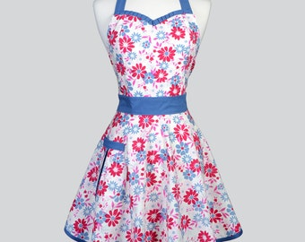 Sweetheart Womens Retro Apron . Denim Blue and Fuschia on Ivory Cute and Flirty Vintage Style Womans Apron