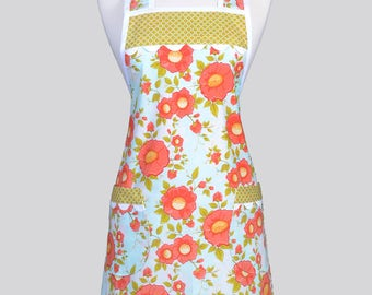 Retro Chef Womans Apron , Coral and Aqua Daydream Floral Vintage Inspired Old Fashioned Kitchen Cooking Apron with Pockets