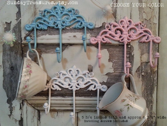 Vintage Ornate Scroll Iron Metal Hook / Scrolly 3 Hook / Victorian Shabby Farmhouse Decor / Blue Pink White  Cottage Chic / 3 Day Ship