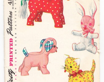 Vintage 1954 Simplicity 4915 Craft Sewing Pattern Set of Stuffed Animal Toys - One Size