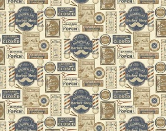 Haircut and Shave Barber Shop Fabric 10130-07 By Benartex on Cream