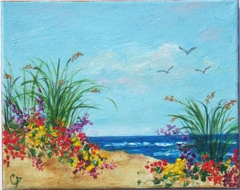 Tropical beach art, colorful flowers on sand dunes, bright colors, beach grass, small beach painting 8x10
