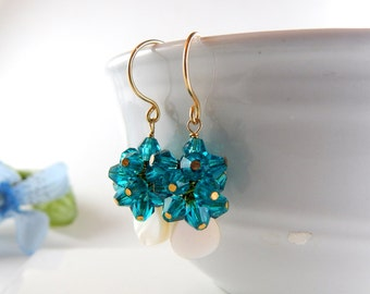 Teal Cluster Earrings - AdoniaJewelry