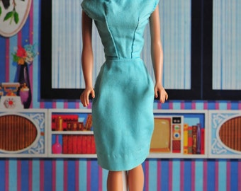 Barbie vintage very tight sheath wiggle dress in turquoise, 60s handmade