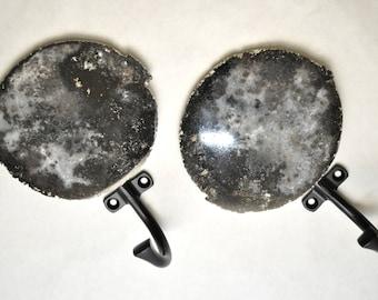 Agate Slice Wall Hook Pair