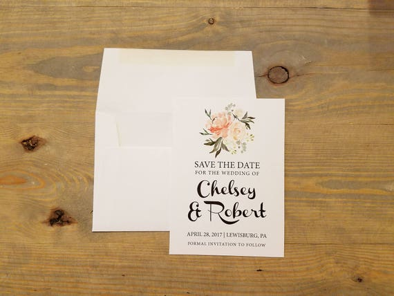 Botanical Save the Date, Watercolor Save the date, Boho Save the Date, Boho Wedding, Beach Wedding, Peach, Simple, Modern Wedding