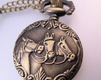 XMAS SALE Vintage Style Horse Head Ladies Petite Pocket Watch Pendant Necklace with Chain