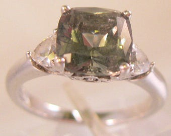 Vintage Green Amethyst & CZ Sterling Silver Ring Size 7.25