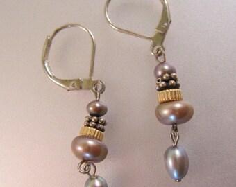 Black Blue Gray Pearl Drop Dangle Earrings Sterling Silver Vintage Jewelry Jewellery