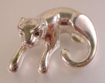 Vintage Panther Cougar Pendant Sterling Silver & Blue Sapphire Eyes Signed OTC