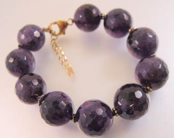 Lucas Lameth LUC Faceted Genuine Amethyst Beaded Chunky Bracelet Vermeil Sterling Silver