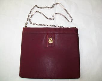 SALE - Miss Lewis Burgundy Satin Handbag, 1950s, Crown emblem,