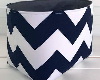 Organizer Basket Storage Bin, Nursery Decor, Diaper Storage, Fabric Bin, Fabric Basket, Home Decor, Chevron ZigZag, Navy Blue, Gray, Grey