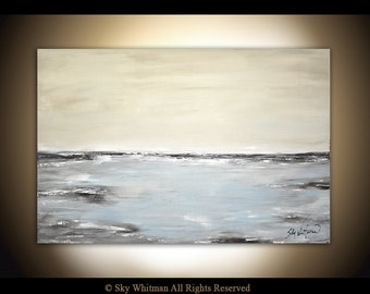 Large Original Abstract Landscape Painting Gray Modern Contemporary Art Seascape 24 X 36 Oil Painting by Sky Whitman