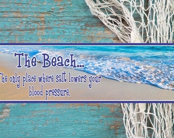 Inspirational Quote Beach Sign With Relaxing Ocean And Golden Sands Photographic Background  Beach Decor, Inspirational Decor PM535