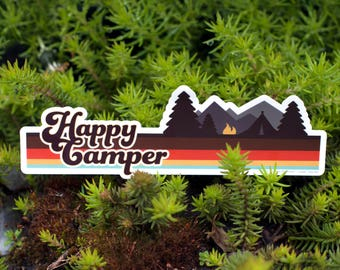 HAPPY CAMPER Bumper Sticker : Car Decal Hippie, Outdoorsy Stickers, Camplife, Car Decals, Van Decals, Camper Van Decals, Die Cut Stickers