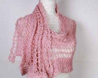 Knitting Pink ,Shawl Stole