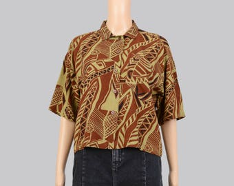 Vintage 80s 90s Abstract Jungle Op Art Print | Oversize Collared Shirt | Button Down Short Sleeve Cropped Blouse | Brown Olive Green | S M