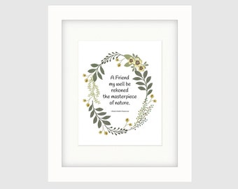 Instant Download Printable Art, Inspirational Poster, Friendship Wreath, Emerson  Quote, Wall Art Prints, Decorative Poster