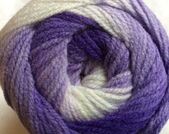 100 gram Magic Light #22023 Purple Lavender White Ice DK Acrylic Yarn 393 yards Purple Medley Self-Striping Yarn