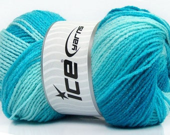 100 gr Magic Glitz 49327 Turquoise Blue Shades with Metallic Sparkle Self-Striping DK Yarn 393 yards