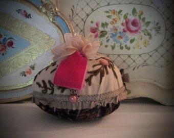 Velvet Easter Egg Centerpiece, Extra Large, Vintage Bow, Chiffon Flower, Chenille Roses