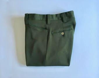 Vintage Men's 70's Disco Polyester Pants, Olive Green, Straight Leg (W31 x L29)