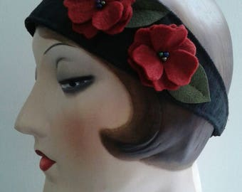 Silk headband with felt flowers.
