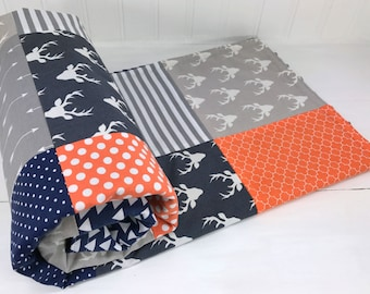Baby Boy Blanket, Nursery Decor, Minky Blanket, Woodland Nursery, Boy Nursery,Navy Blue,Navy, Grey, Gray, Orange, Deer, Buck, Arrows, Tribal