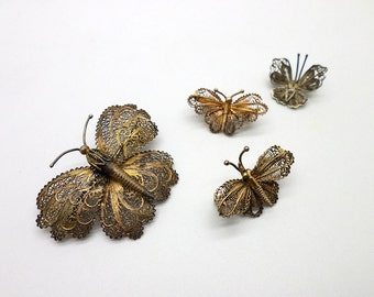 Filigree Butterfly Brooch Pin Family 5 piece Lot 800 and 925 Silver Gold Vermeil