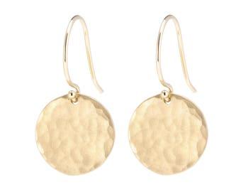 Hammered disc earrings, Solid 14K Gold Earrings, 14K Gold Disc Earrings, Large Textured Disc Earrings, Gift for Her, Gift for Mom