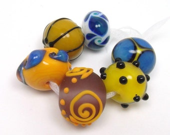 Lampwork beads  -  Eclectics in Yellow and Blue  -  primrose yellow, lapis blue, marine blue, amethyst, loose glass beads