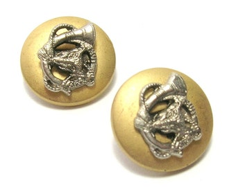 Vintage Metal Military Style Buttons - Vintage Beads