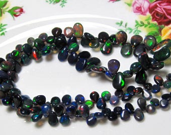 "8"" Strand - Natural ETHIOPIAN BLACK OPAL Nice Fire Smooth Pear Briolette"