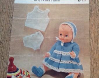 Vintage Knitting pattern fir Dolls Clothes,Vintage Knitting,Knitted Dolls Clothes