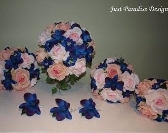 Wedding Bouquet Set -  Rose & Orchids Set - Blue Purple Orchids