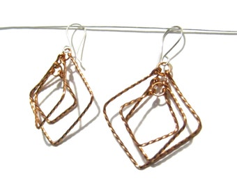 Twisty Squares Earrings - Twisted Copper with Sterling Silver Hooks - Gift for Her Under 25