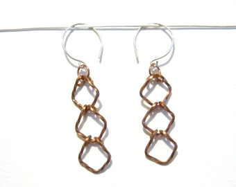 Twisted Square Trio Dangle Earrings, Copper Wire, Gift for Her Under 20, Christmas Present, Copper Anniversary, Rhythm Collection