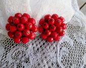 Red Laguna Faceted Glass Bead Earrings, Clip on earrings, Red Earrings, Vintage Earrings