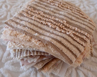 "Vintage Chenille Fabric Quilt Squares - 20 - 6"" RARE Mocha, tan, brown chenille, all different - 500-94"