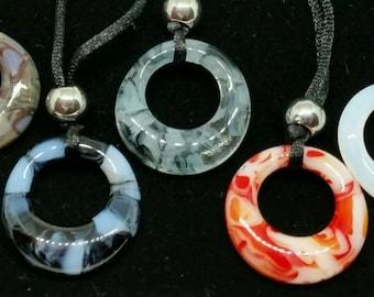 Fused Glass Circle Pendants