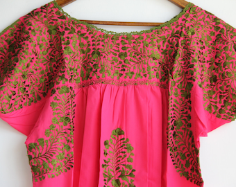 Olive green embroidery on Pink  Mexican Wedding Dress