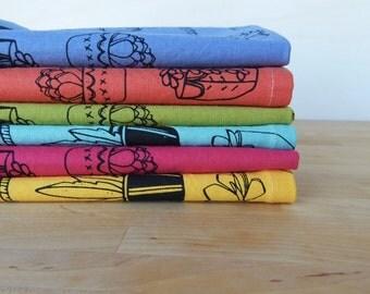 Cloth Napkins, Hand Printed Succulent Illustration, Mutli Color Spring Brights, Set of 6