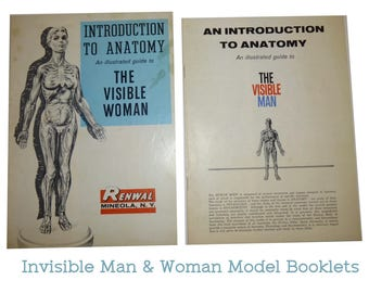 1960 Visible Woman and 1959 Visible Man Illustrated Booklet Inserts for Renwal Model. Great Vintage Ephemera. Introduction to Anatomy.