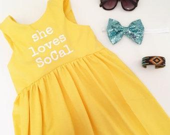 She Loves Dress, YELLOW and WHITE, toddler dress, girls dress