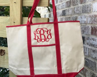 Personalized Canvas tote with color trim