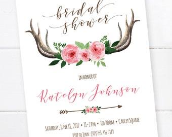 Boho Bridal Shower Invitation, Tribal Invitation, Bohemian Printable Invitation, Bull Skull, Dream catcher, Boho, Baby Shower, Bridal Shower