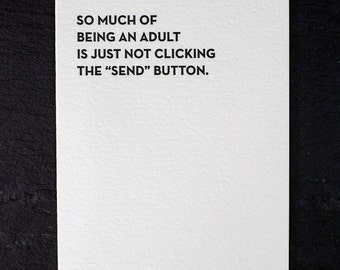 send button. letterpress card. #925