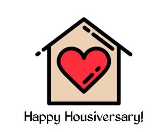 Happy Housiversary Heart Cards - Realtors 1 Year House Anniversary Cards Digital Download Printable
